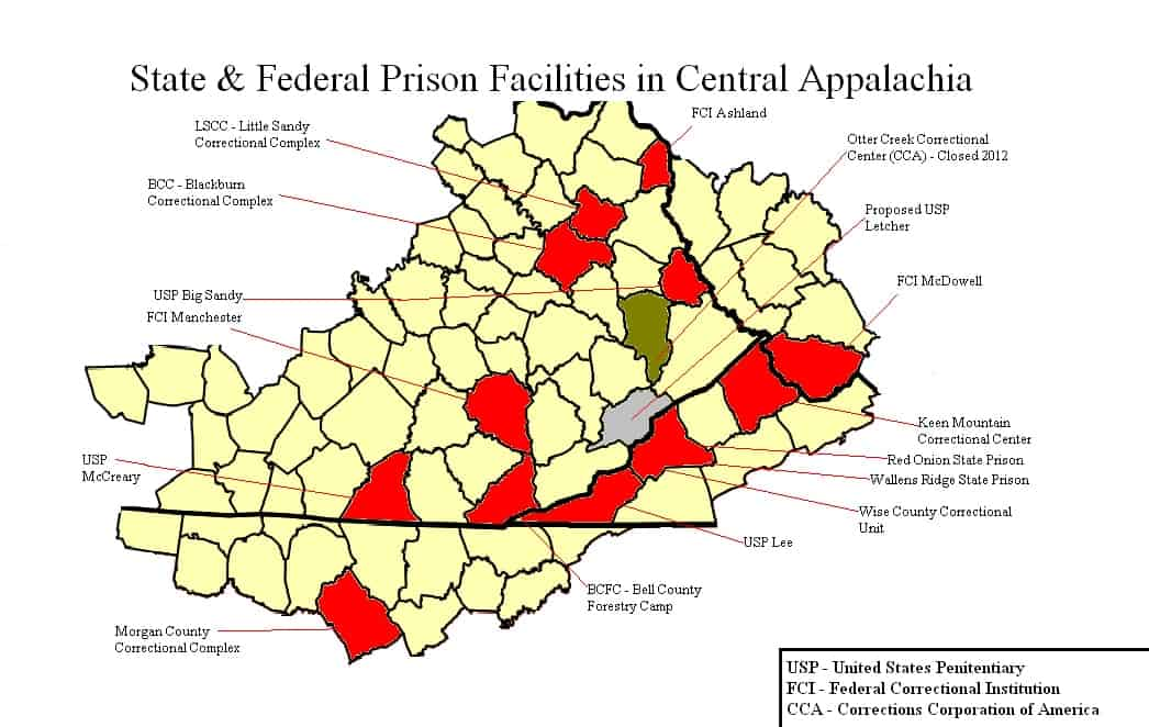 Red areas show the Central Appalachian counties in which state and federal prisons are located. Five  federal prisons have been built in the area since 1992. One is proposed for Letcher County, Kentucky (shown in gray). (Map by Elizabeth Sanders / Data from U.S. Department of Corrections and U.S. Bureau of Prisons)