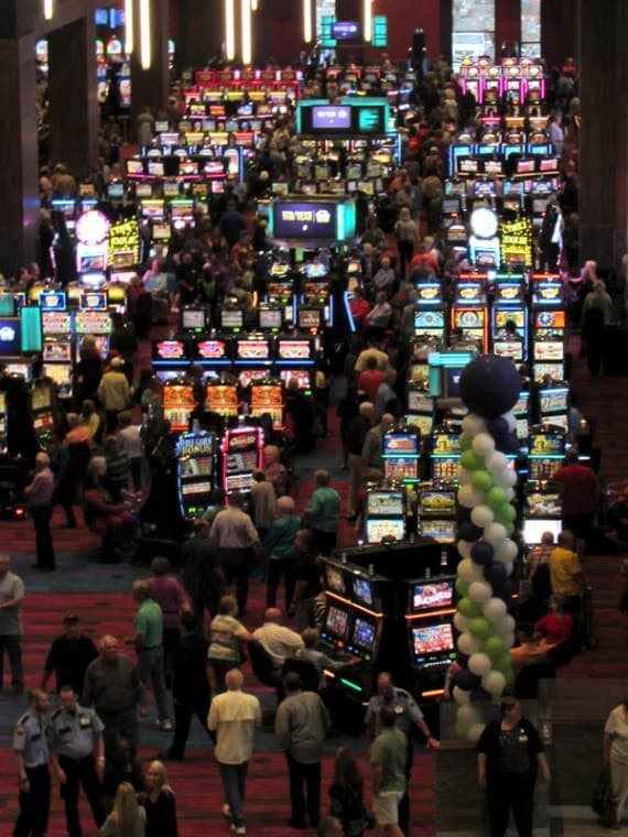 Opening day at the 90,000-square-foot gaming room of Harrah's Cherokee Valley River and Casino near Murphy in western North Carolina, photographed from halfway up the escalator to the 300-room hotel. Photo by Lorraine Bennett.