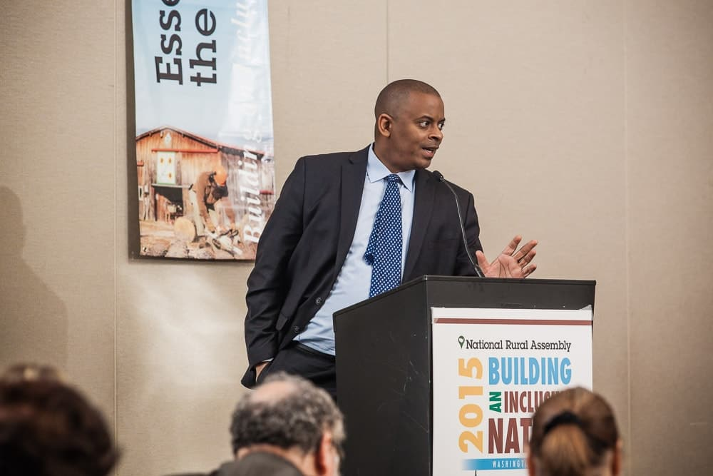 United States Secretary of Transportation Anthony Foxx gives the keynote speech on the final day of the National Rural Assembly in Washington, DC.