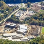 An aerial view of construction on the Cherokee Indian Hospital in Cherokee, North Carolina.