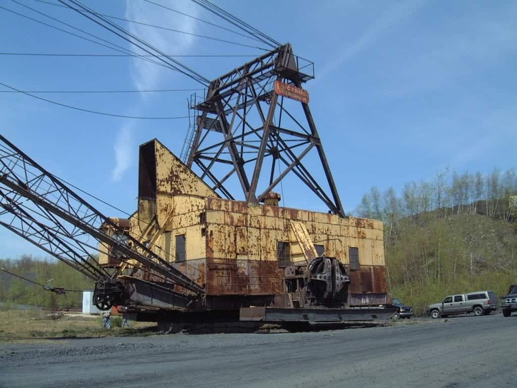 Old drag line equipment used in surface mining of coal.