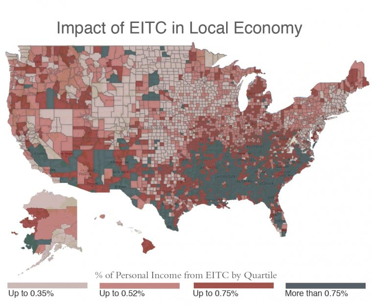 The map shows the relative economic impact of the Earned Income Tax Credit for most U.S. counties. Counties are shaded according to what percentage of that county's personal income is from EITC payments to people residing in that county. Darkest counties have the highest percentage of personal income from EITC.