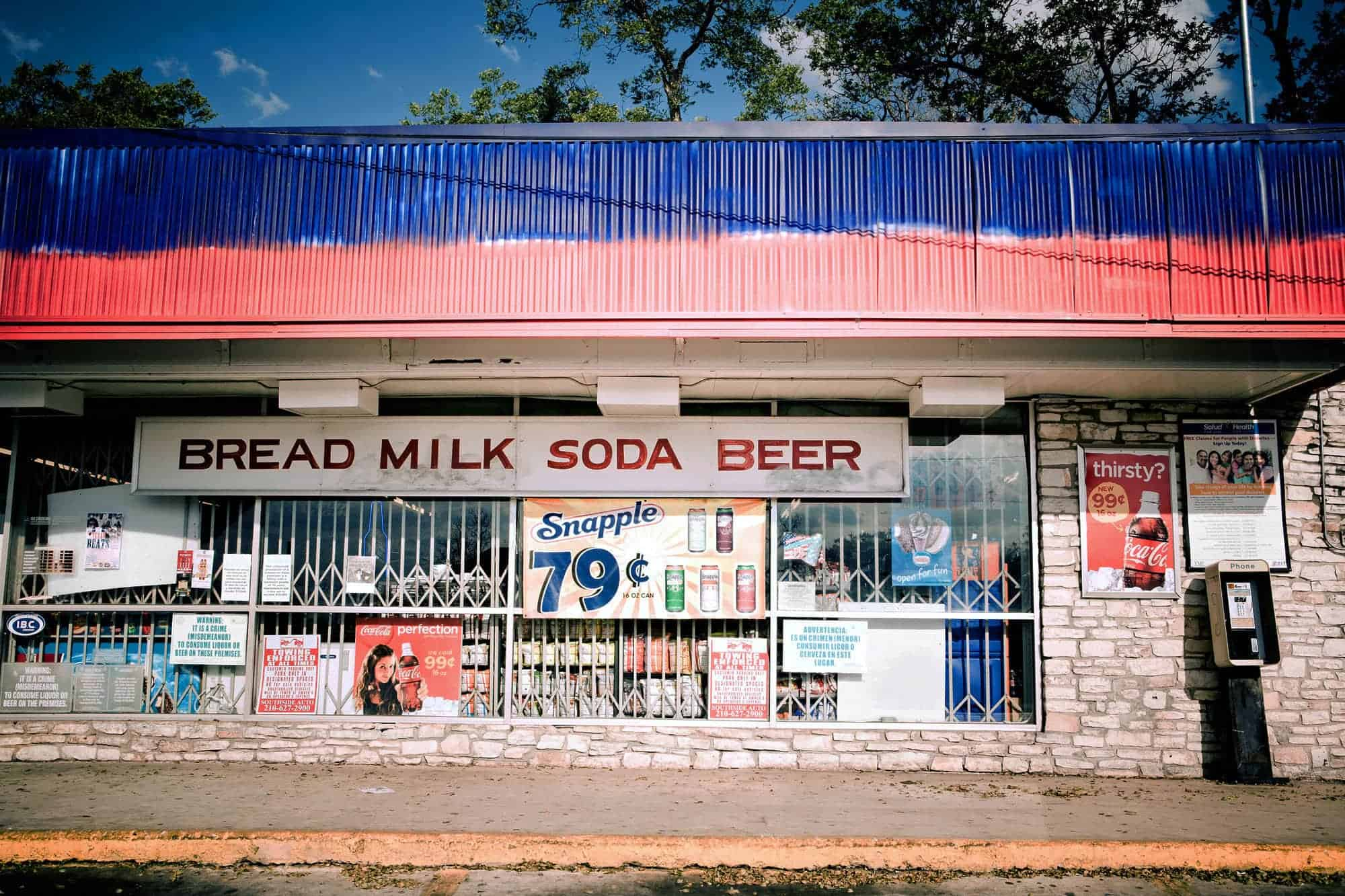 "Convenience store in San Antonio, Texas. Such stores are more common in ""food deserts"" -- communities with concentrations of low-income residents and no nearby grocery stores."