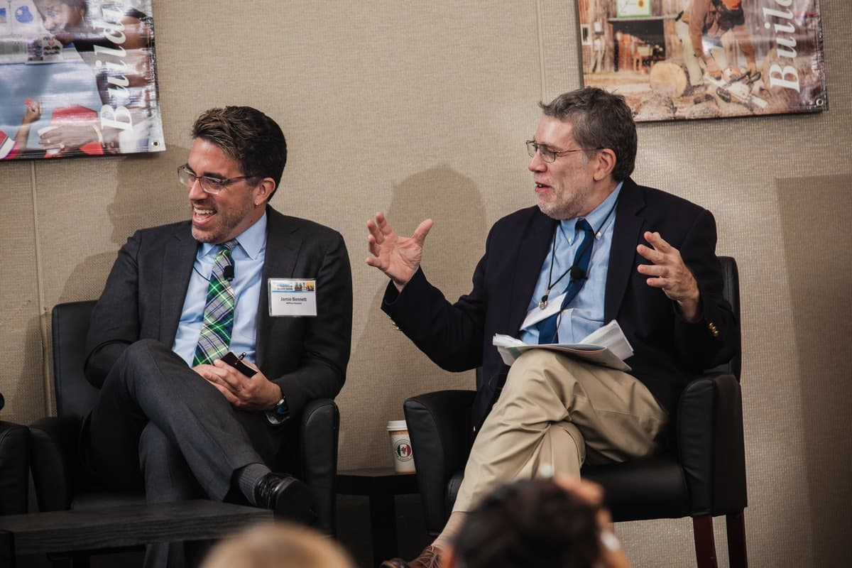 Rick Cohen, right, moderates a panel on rural philanthropy that includes Jamie Bennett, left, of ArtPlace at the 2015 National Rural Assembly in September.(Shawn Poynter photo)