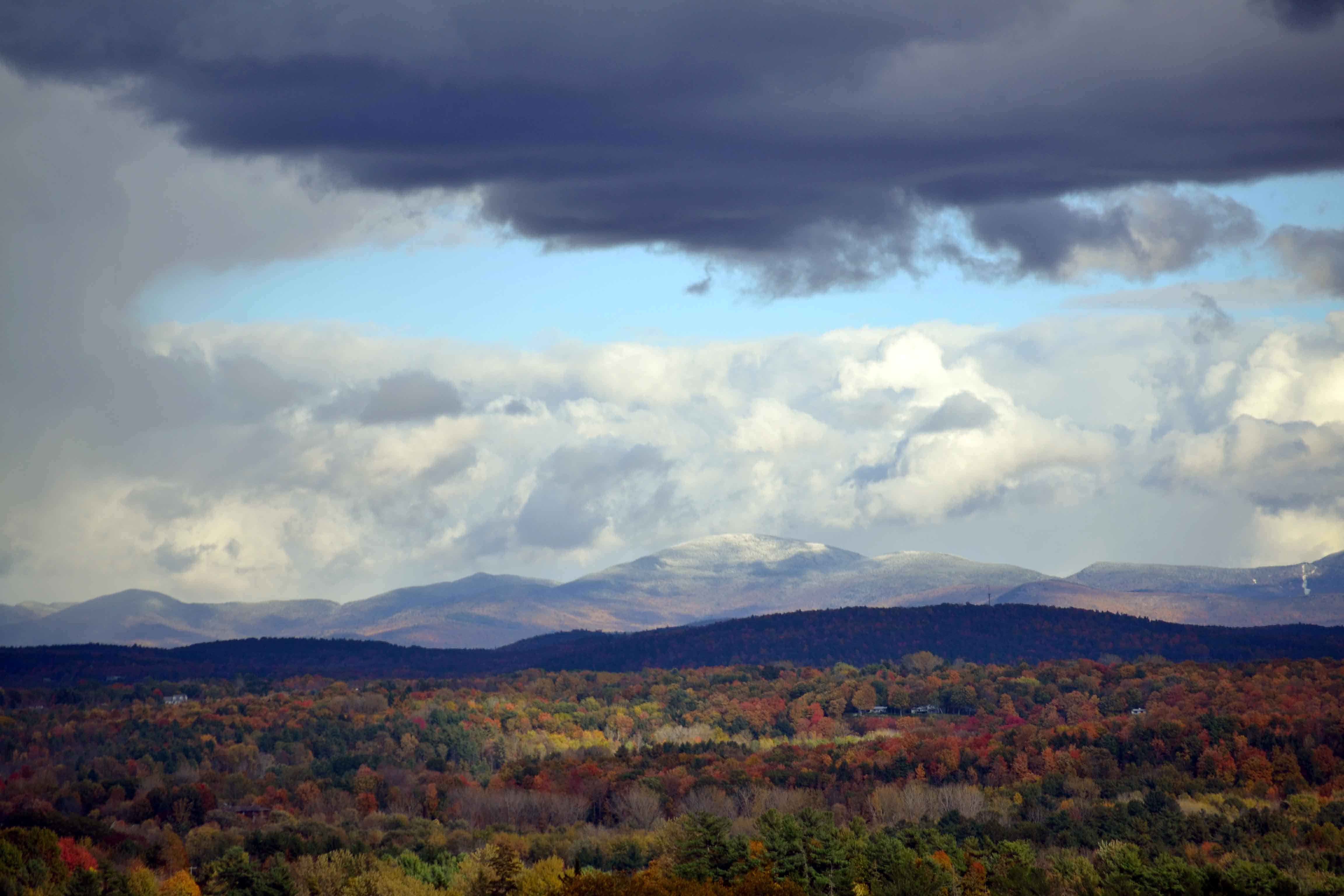 Shelburne Farm, south of Burlington, provides a view of snowsqualls across the Lake Champlain Valley and Camel's Hump, Vermont's third highest mountain. (Photo by Timothy Collins)