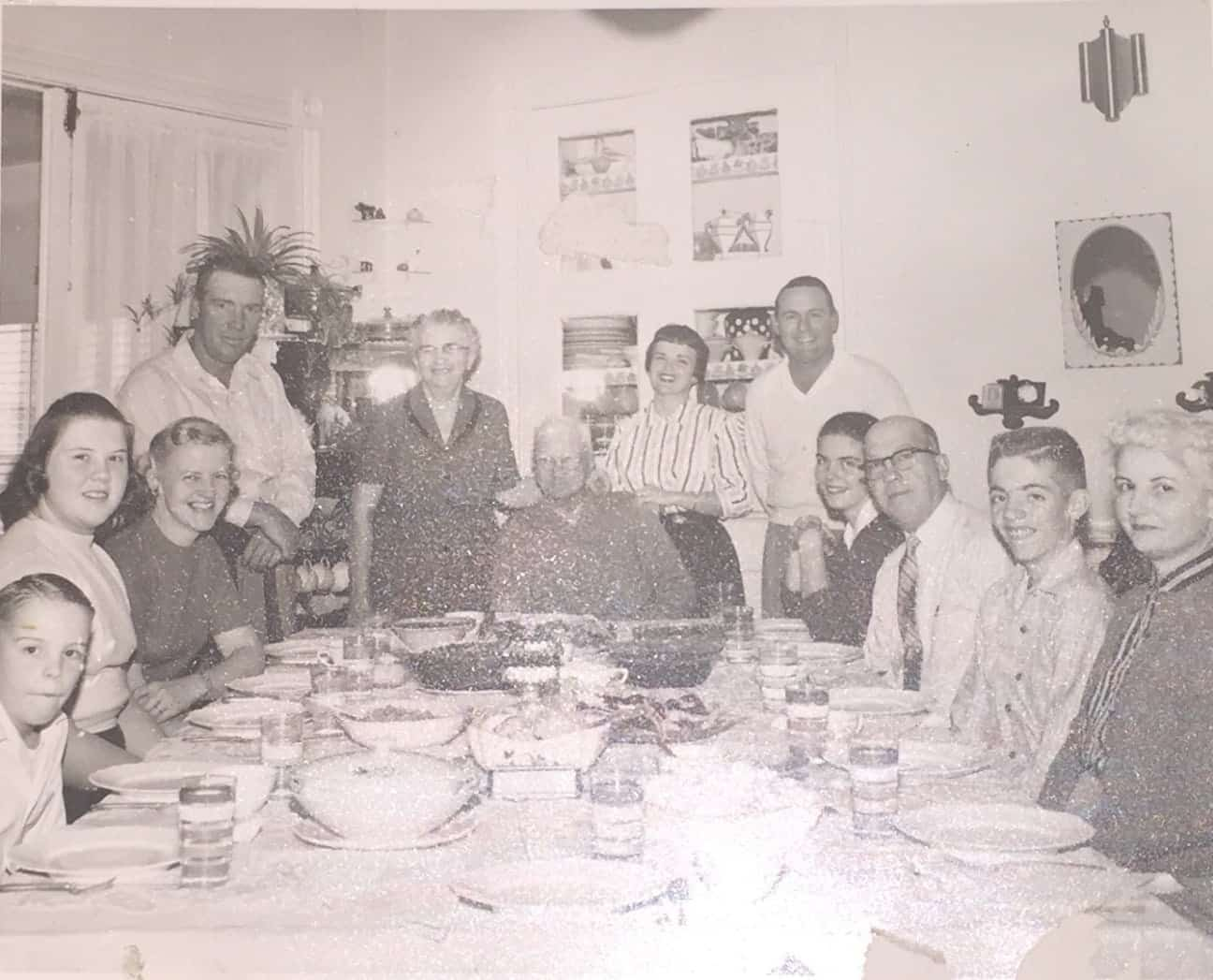 A gravy boat, left, sits between the author's parents. The author, Richard, is seated far left.