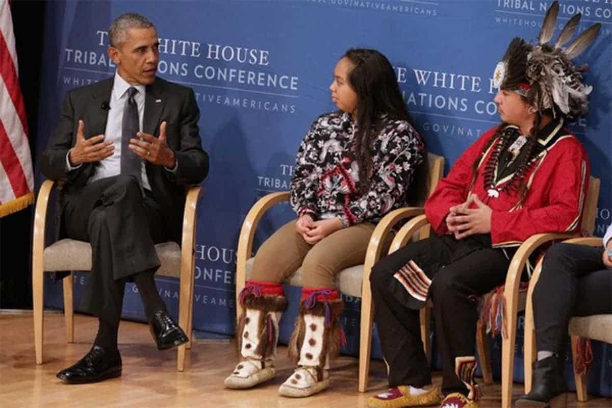 President Barack Obama speaks with a panel of tribal youth during the  seventh annual White House Tribal Nations Conference in Washington, DC.
