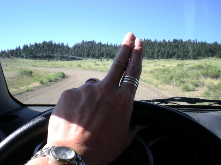 The two-finger, backroad wave. Photo via Rhymes With Vanilla.
