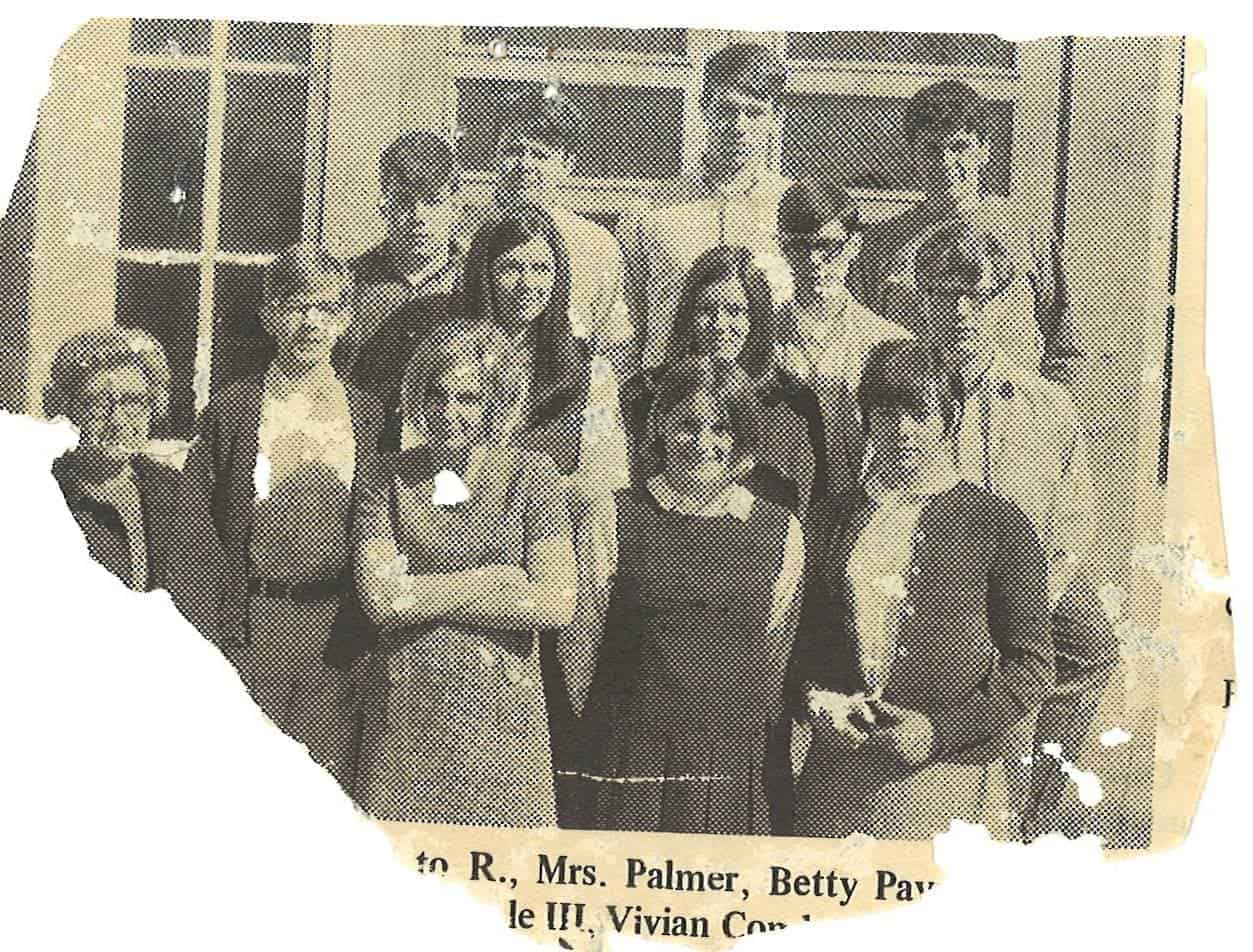"The Hazard High School drama club circa 1968. Adviser Evangeline ""Dang"" Palmer is far left. The author, Dee Davis, is top right. (Via Facebook)"