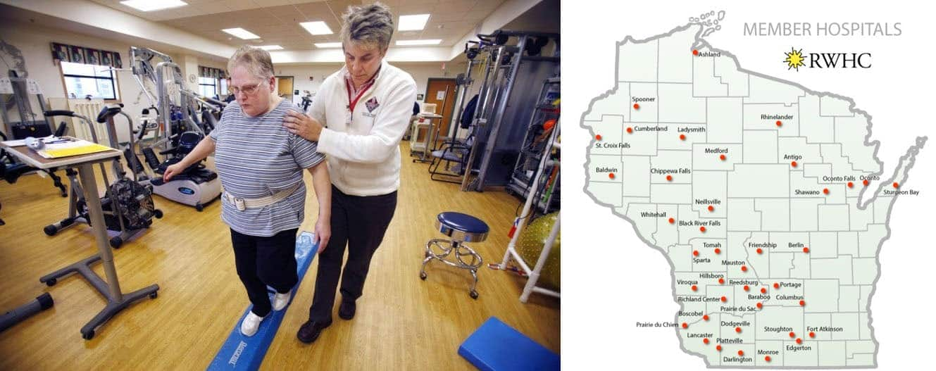Left: A patient works with a therapist at the Grant Regional Health Center, which is a member of the Rural Wisconsin Health Cooperative. Right: A map of RWHC members.
