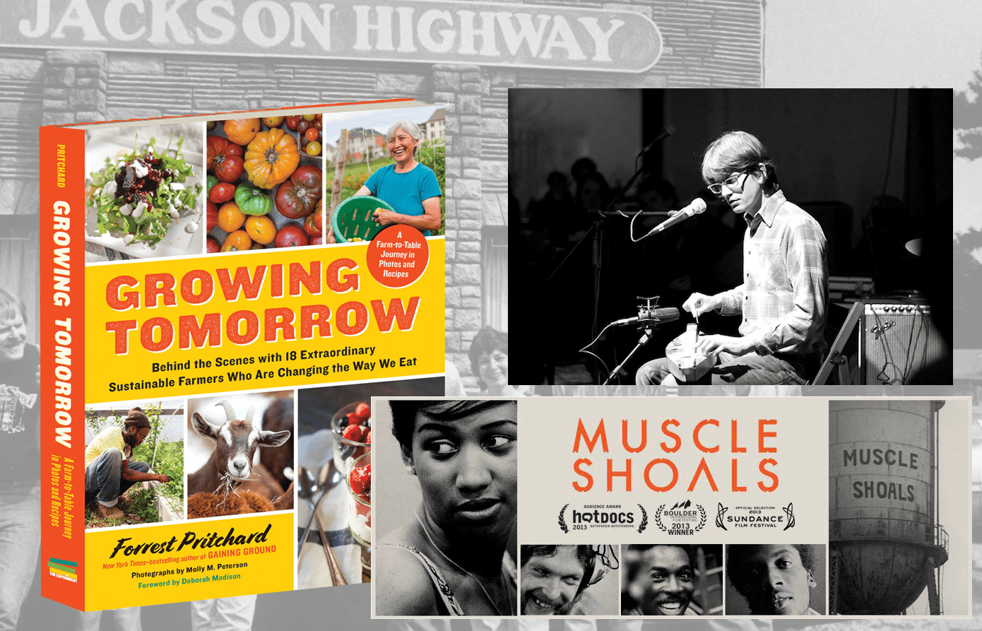 """Some of the """"best of"""" selections of the new Rural Roundtable, a co-production of the Daily Yonder and National Rural Assembly: the book by Forrest Pritchard, the documentary on the rock and roll history of Muscle Shoals by director Greg 'Freddy' Camalier, and (top right)  musician Joe O'Connell of Elephant Micah."""