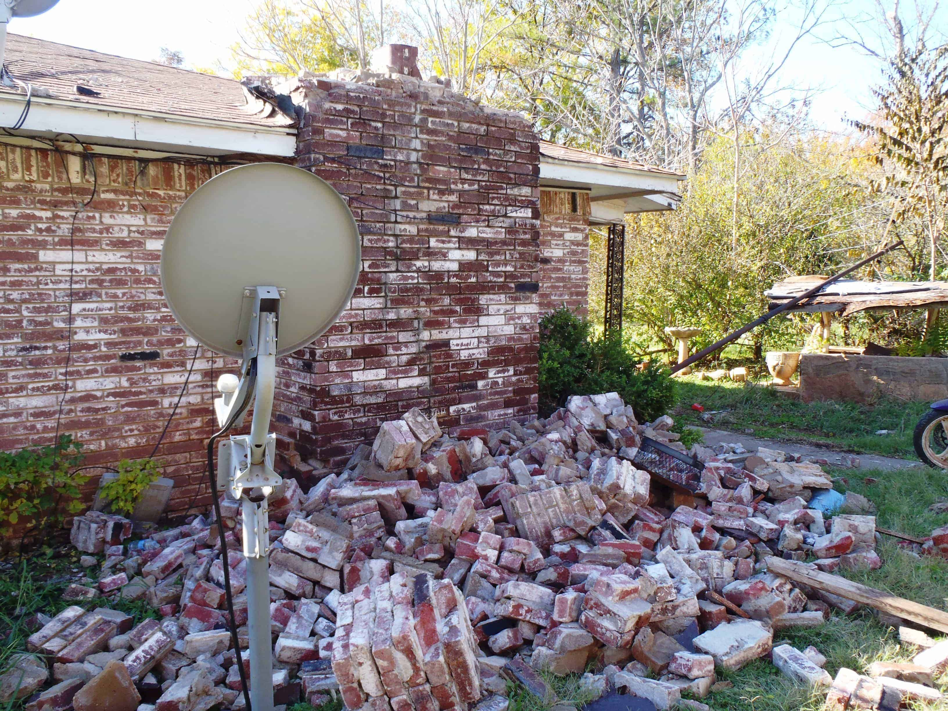 U.S. Geological Survey scientists linked the earthquake that damaged this Oklahoma home in 2011 to hydraulic fracking activities. Private lawsuits were filed against energy companies after two larger quakes in December and January. (Brian Sherrod, United States Geological Survey )