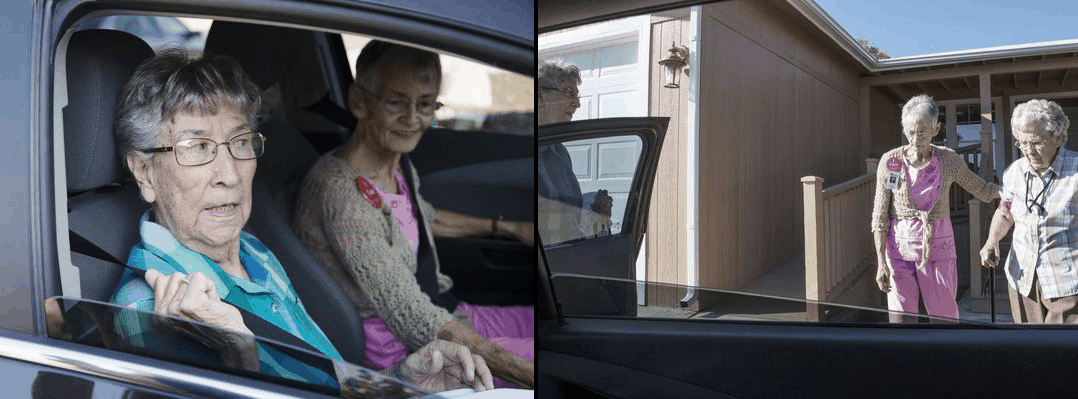 Dialysis patients could face especially daunting obstacles to treatment if the rule is approved, according to the author. Left: Fran Stowell gives a ride to Mary Carter from her home in Camp Verde, Arizona, to her dialysis appointment at Verde Valley Caregivers Coalition in Sedona. Right: Stowell (middle) assists Mary Gramling and Mary Carter (far left) to their dialysis appointments. Photos by Nick Oza/The Republic.