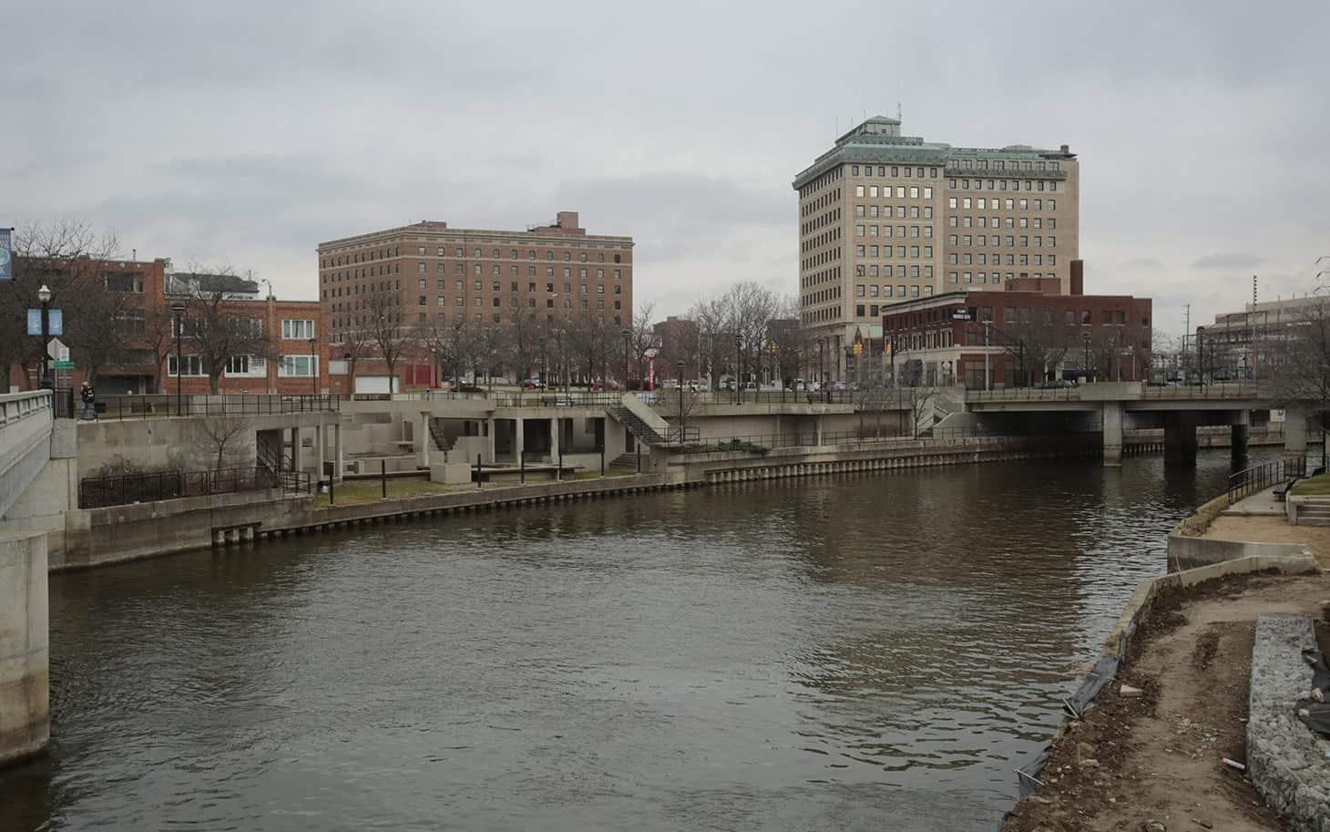 The Flint River is seen flowing thru downtown in Flint, Michigan