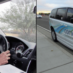 Left: Kelley Dalton is one of two drivers for the city of Maricopa's public transit system, known as the Comet. Right:Dalton's Comet van.  Photos by Jenny Ung, Cronkite News.