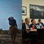 Left: Riders in the New Lands, which is part of the Navajo Nation where Navajo families have been relocated. Photo by Bill Inman/Padres Mesa Ranch. Right: Chris Bavasi, right, executive director of the Office of Navajo and Hopi Indian Relocation, told a House Appropriations subcommittee he believes his office can finish its work in fiscal 2018. Photo by Madison Alder/Cronkite News.