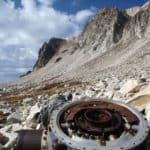 Wreckage of United Airlines Flight 409 still sits on the mountain. Photo via justtrails.com.