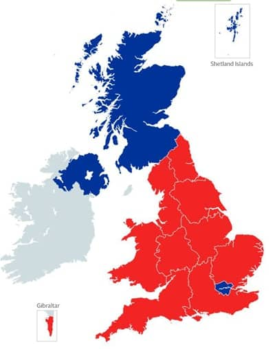 Red areas voted to leave the European Union; blue areas, to stay.