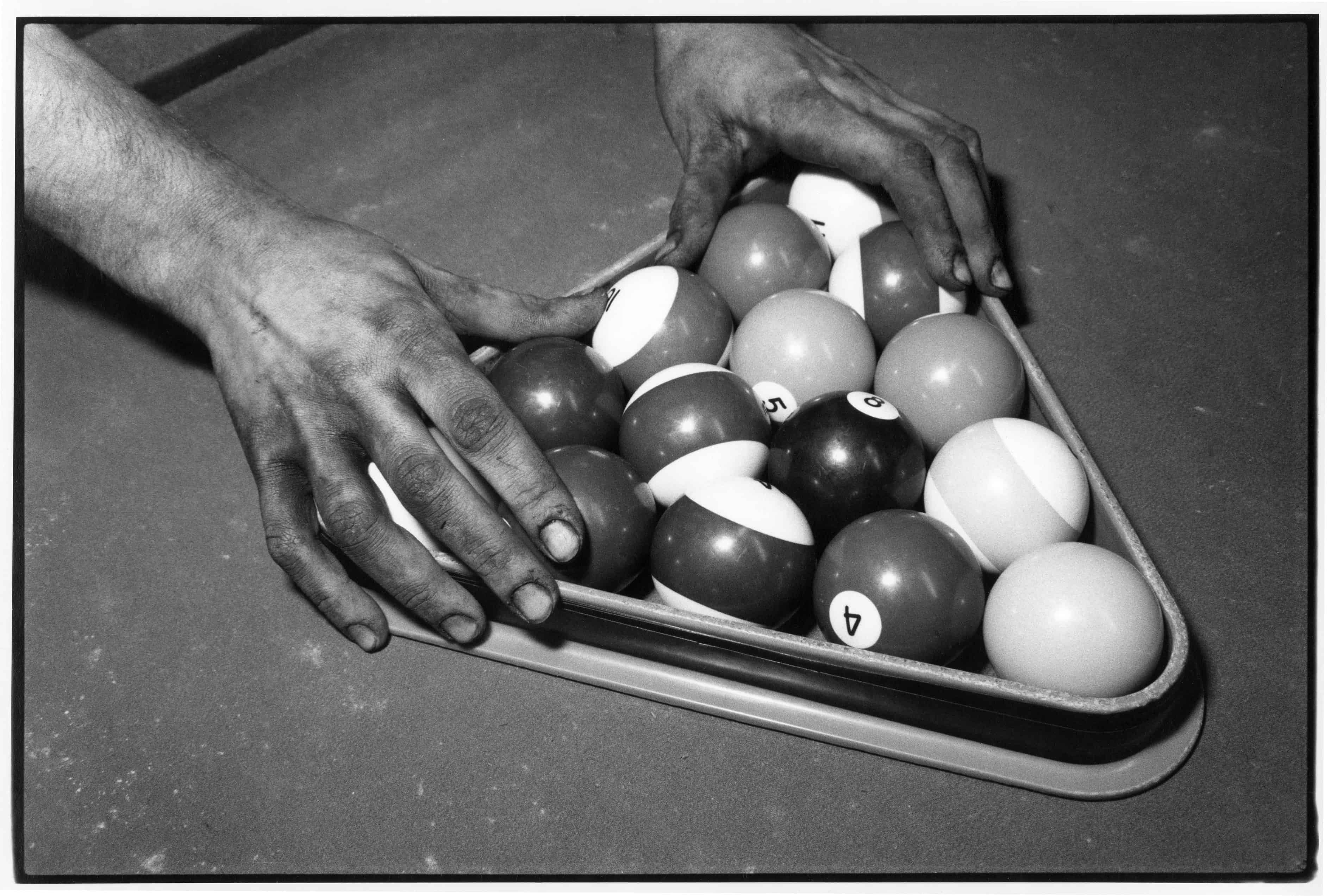 Miner Racking Pool Balls After His Shift.  Powhatan Point, Ohio