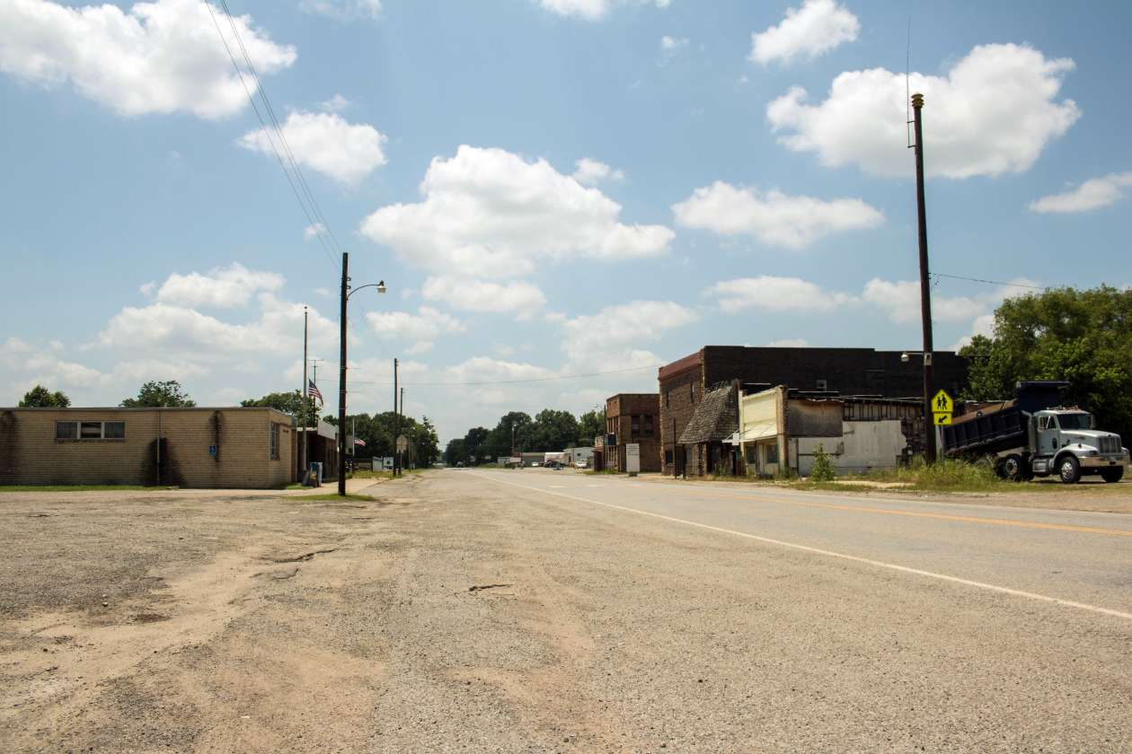 A street view of Bokoshe, Oklahoma, a town of about 500 residents. Photo by Joe Wertz/StateImpact Oklahoma