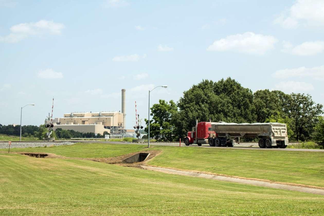 A tractor-trailer enters the main entrance of the AES Shady Point coal-fired generation plant near Panama, Oklahoma. Photo by Joe Wertz/StateImpact Oklahoma