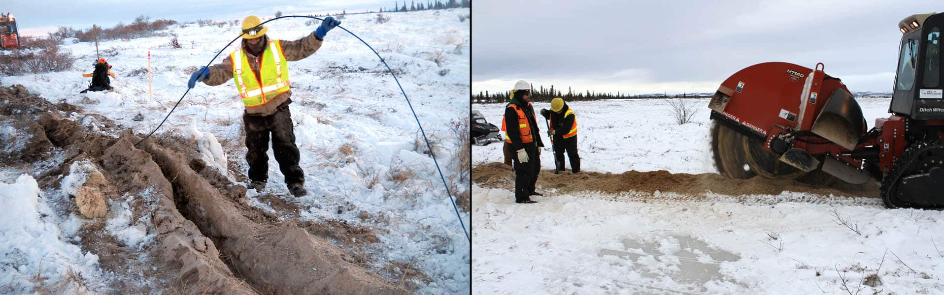 Workers from the Ledcor Group, who received money from the American Reinvestment and Recovery Act  for broadband expansion, install cable linking Iguigig and Levelock, Alaska with fibre cable.