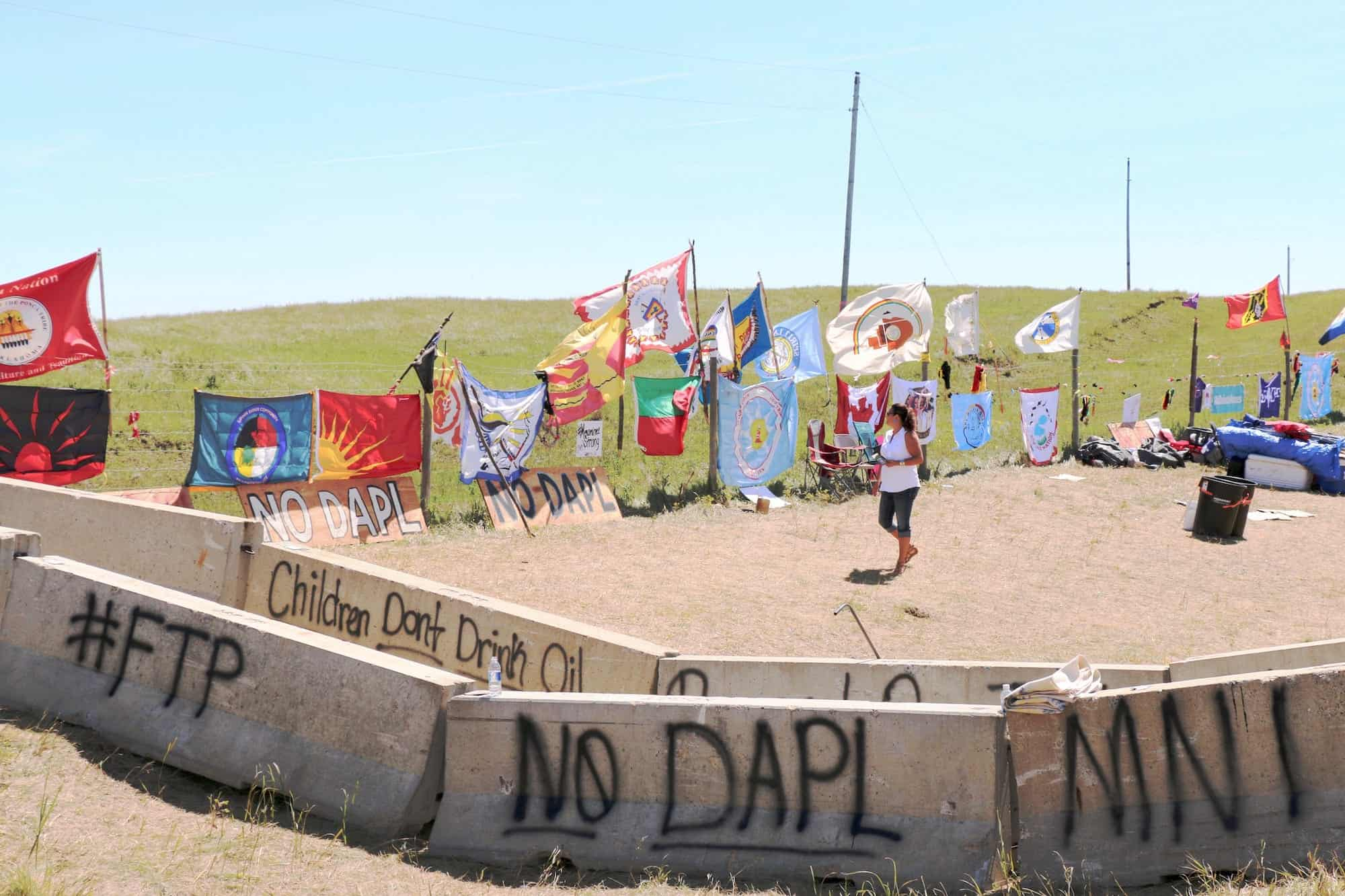 Tribal flags from various nations are united on the protesting grounds at the Camp of the Sacred Stones near the Standing Rock Sioux Indian reservation. Photo by Latoya Lonelodge
