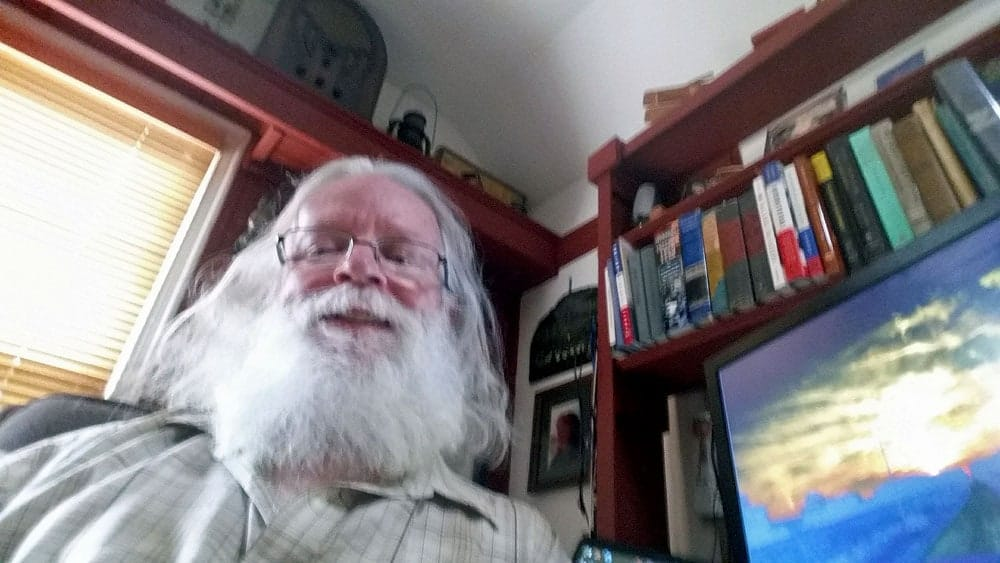 The author takes a selfie in his upstairs office in the small town of Bushnell, IL.