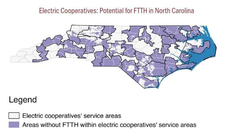 Purple areas are ones that are within an electric co-ops service area that do not have fiber-to-the-home internet service. The report says making it easier for co-ops to provide broadband would help small cities and rural areas with internet access.