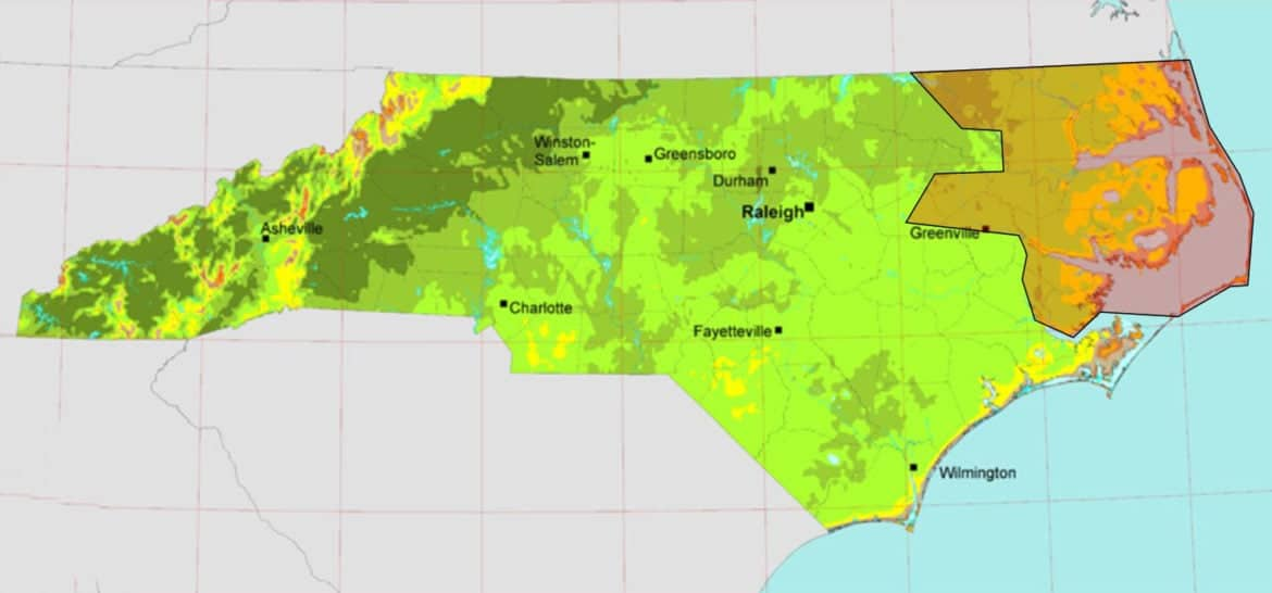 This map shows the rough outline of the PJM Interconnection's territory (upper right) overlaying NREL estimates of wind energy potential for North Carolina.