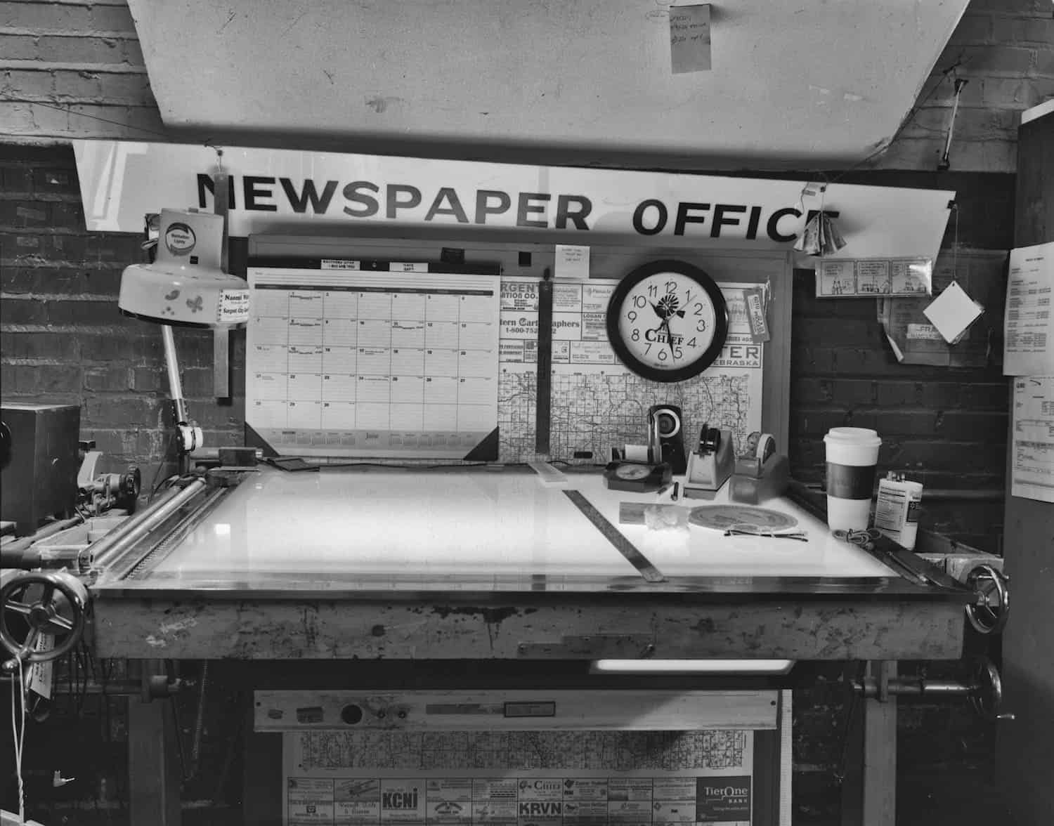 """A scene at the Custer County Chief in  Broken Bow, Nebraska. Photo by Peter Crabtree, from his """"Newsprint"""" series."""