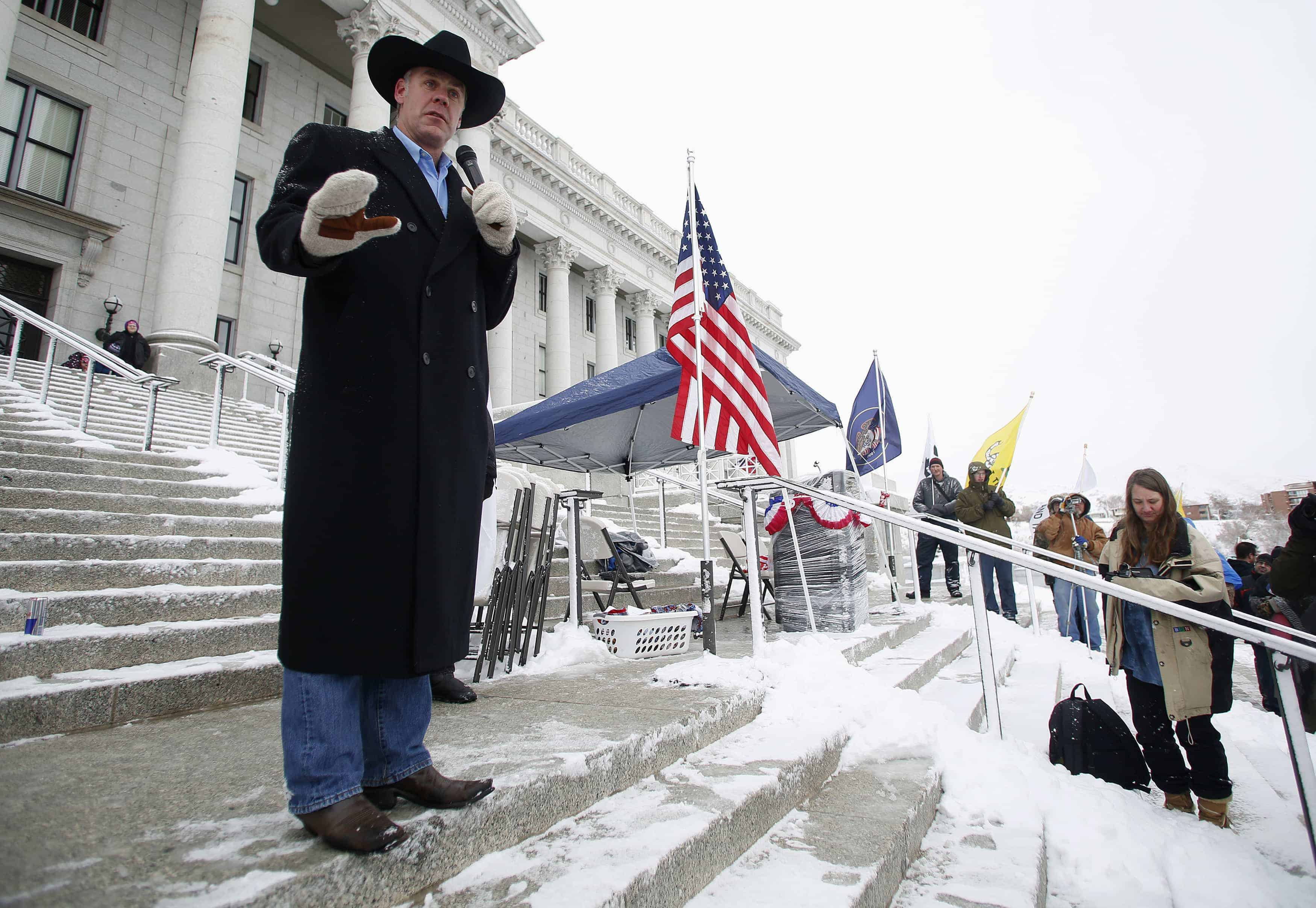 Montana state Senator Ryan Zinke addresses a pro-gun activist rally as part of the National Day of Resistance at the state Capitol in Salt Lake City, Utah