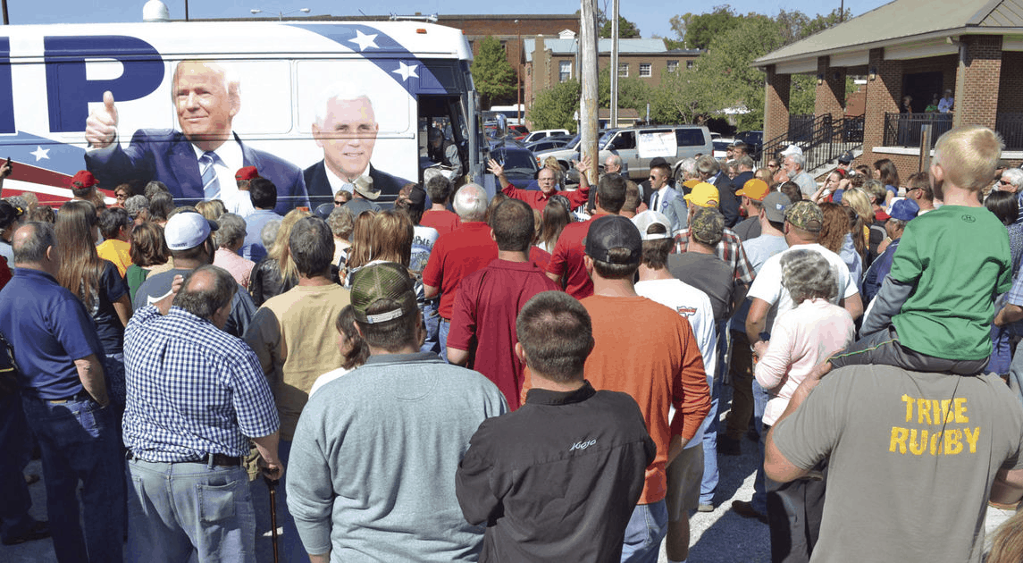 A Trump-Pence campaign bus (with no candidates aboard) draws a crowd in Athens, Tennessee, on October 24, 2016.  (Photo by Andy Brusseau/Daily Post Athenian www.dailypostathenian.com)