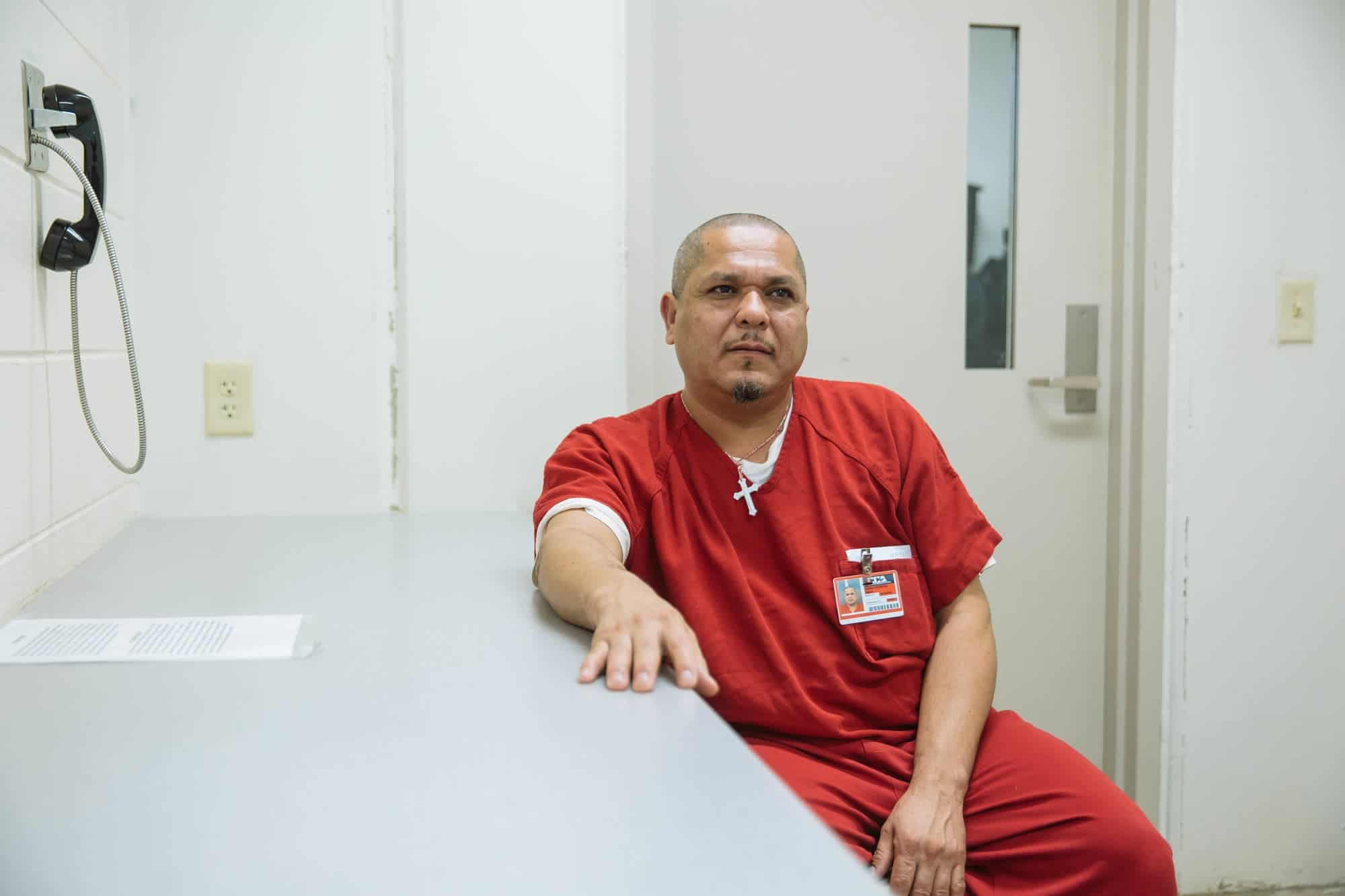 Omar Arana Romero came to the United States from Mexico in 1994. Turned in by his bosses at the chemical plant where he held a temp job, he has been at the Stewart Detention Center in Lumpkin, Ga., for over a year. Photo by Audra Melton for the Marshall Project