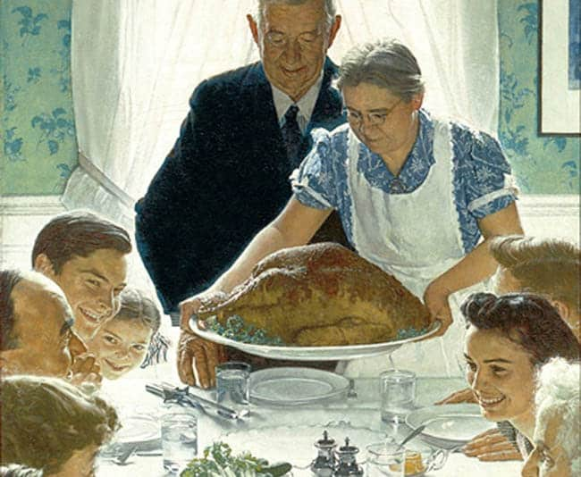 No matter how much you love your family, things can get a little stuffy and crowded during the holidays. Is there an alternative? (Detail from Norman Rockwell's painting, Freedom from Want.)