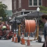 Utility service contractors prepare downtown Roanoke, Virginia, for fiber-optic cable through the Roanoke Valley Broadband Authority. Roanoke Times file photo