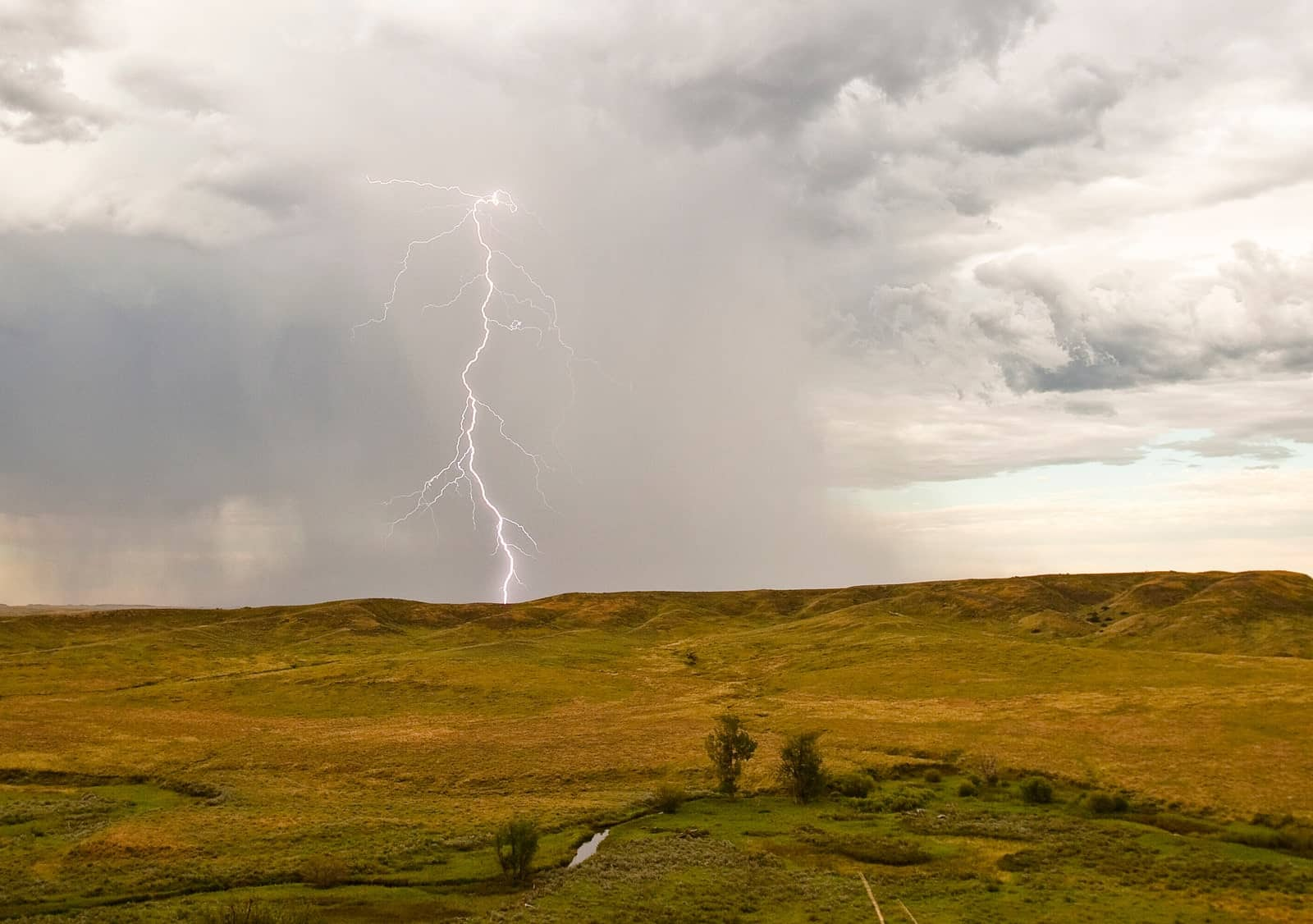 Lightning strikes in a field at Montana's American Prairie Reserve. Photograph by Dennis J. Lingohr