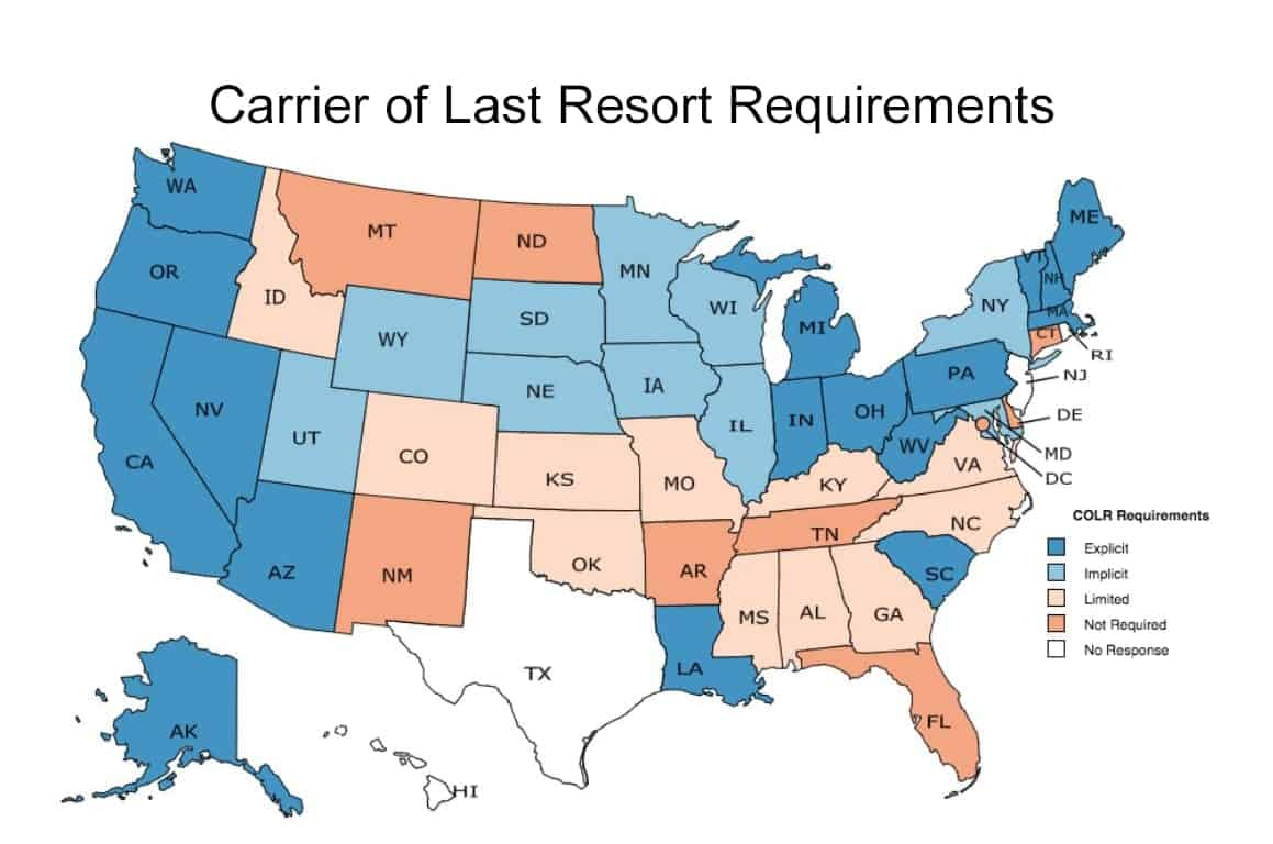 Carrier of Last Resort State by State