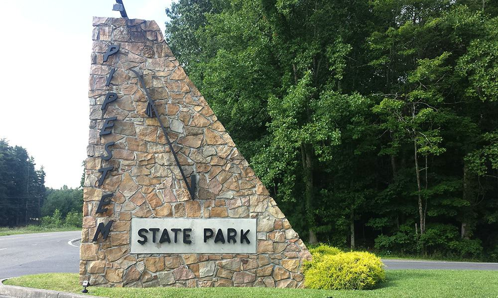 pipestem state park sign
