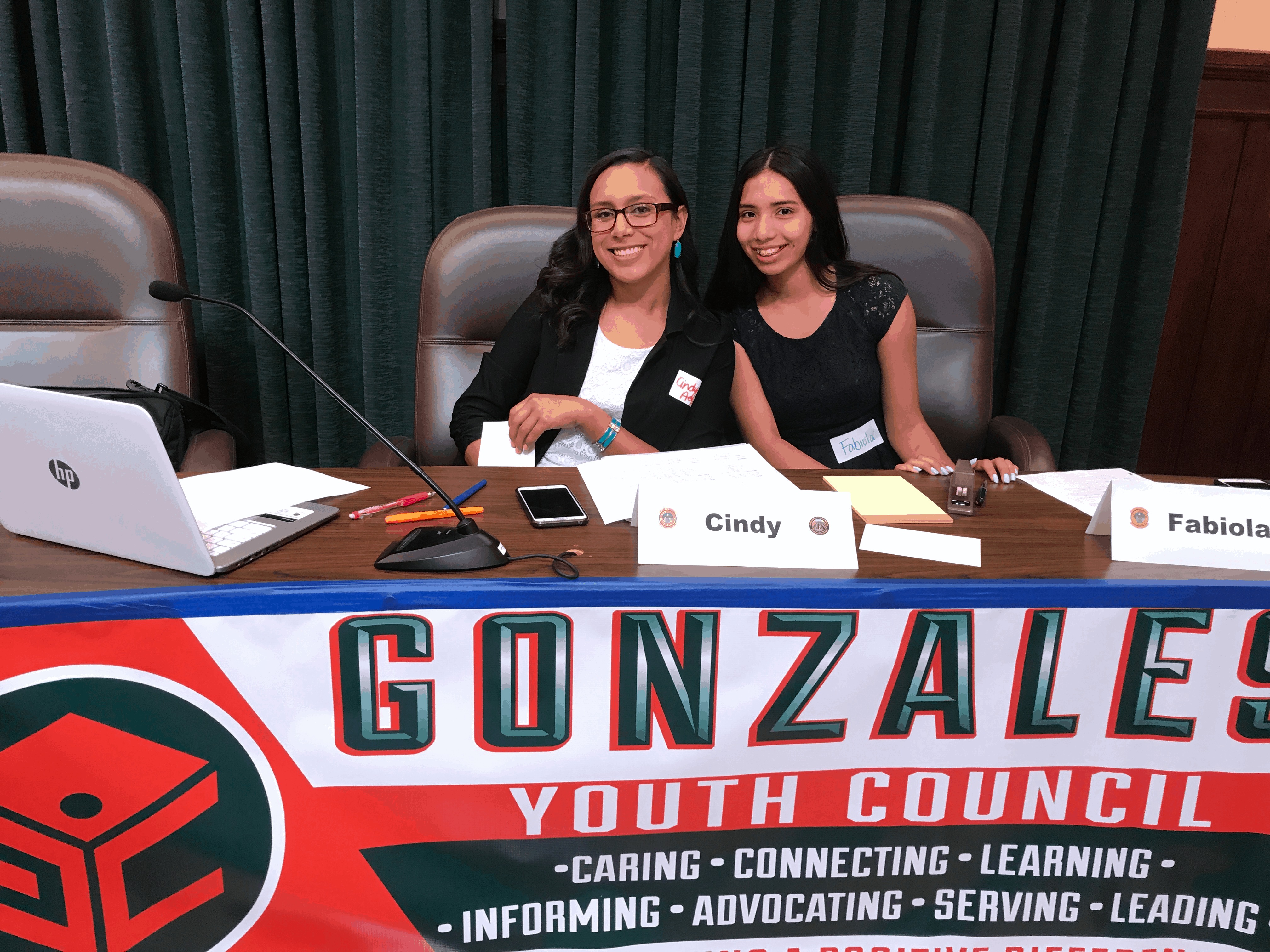 Youth Commissioners Cindy Aguilar and Fabiola Moreno running Youth Council Meeting (1)