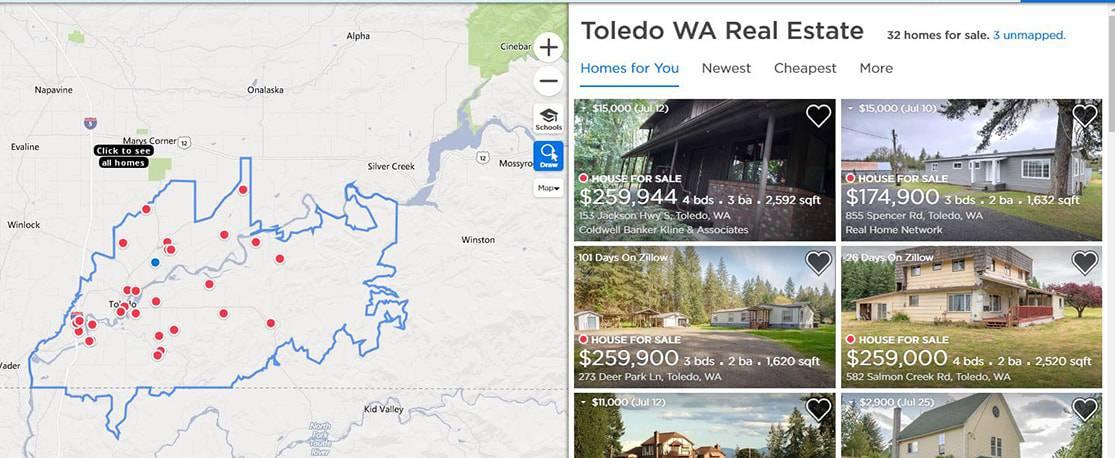 Houses for sale in the Toledo ZIP code. (Zillow)