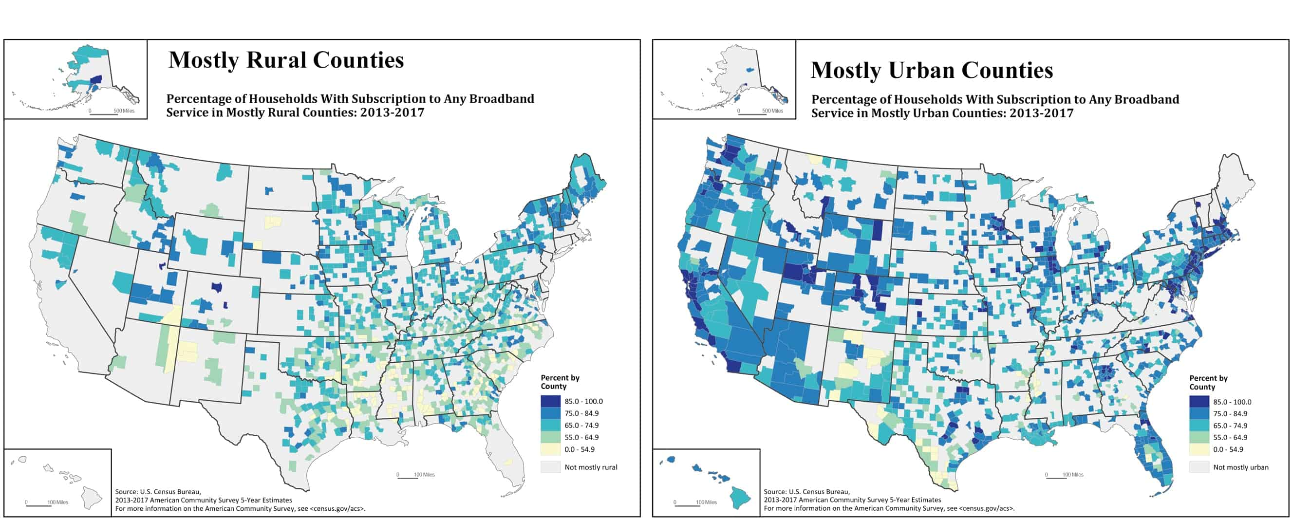 Rural and Lower-Income Counties Lag Nation in Internet