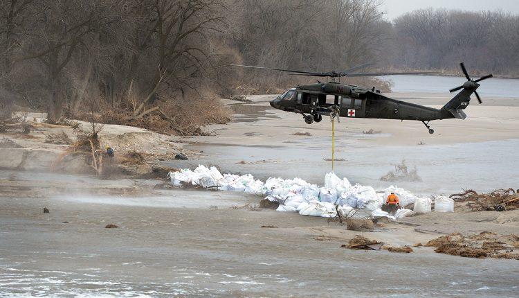 Nebraska National Guard Soldiers assist with sandbagging operations
