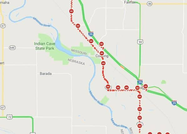 Road closures from Plattsouth, Nebraska, to Rulo, Nebraska.