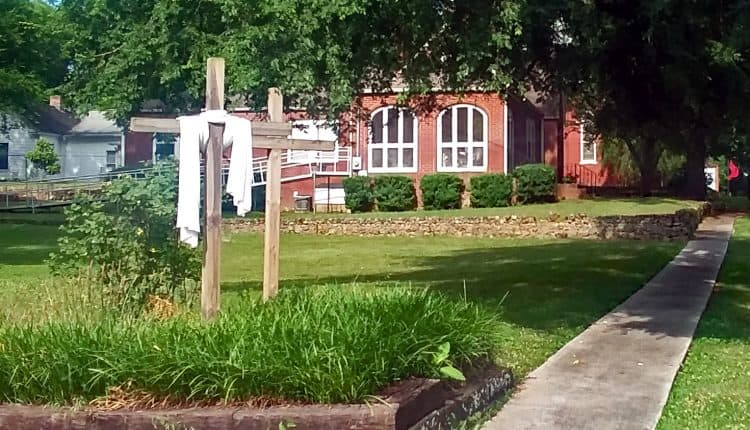 Crosses in front of the Methodist Church in Kingston GA